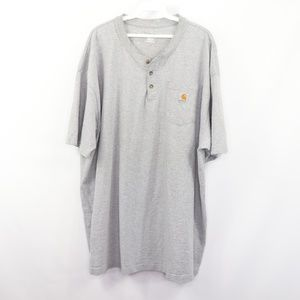 Vintage Carhartt Spell Out Henley Shirt Gray 2XL